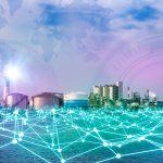 Teia de fios neons interligados formando uma rede de comunicação industrial